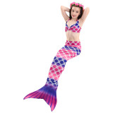 3PCS Kid Girls Strap Rainbow Ombre Scales Mermaid Tail Bikini Sets Swimwear