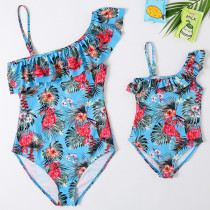 Mommy and Me Prints Flamingos Tropical Leaves One-shoulder Matching Swimwears