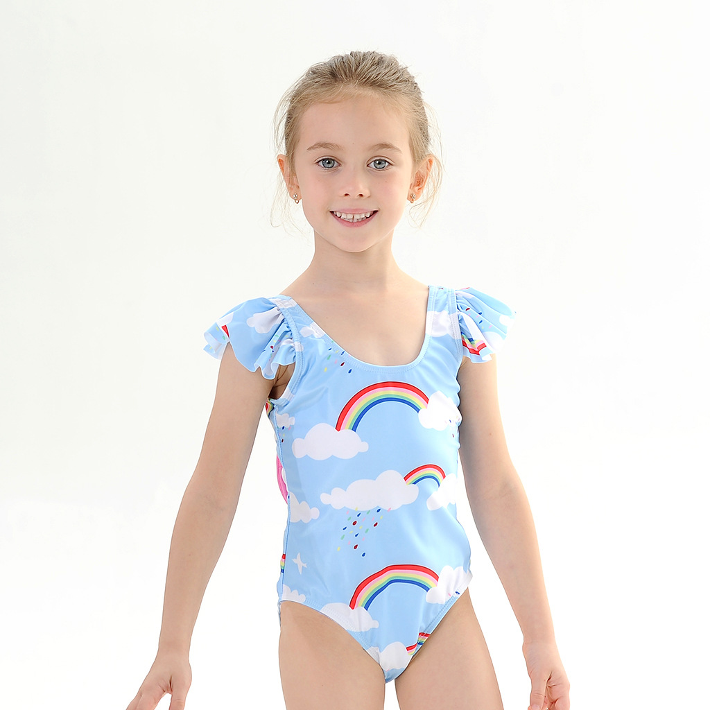 Toddle Kids Girls Rainbows Clouds Bowknot Backless Swimsuit Swimwear