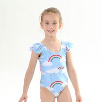 Toddle Kids Girls Rainbows Clouds Bowknot Backless Swimsuit Swimwear