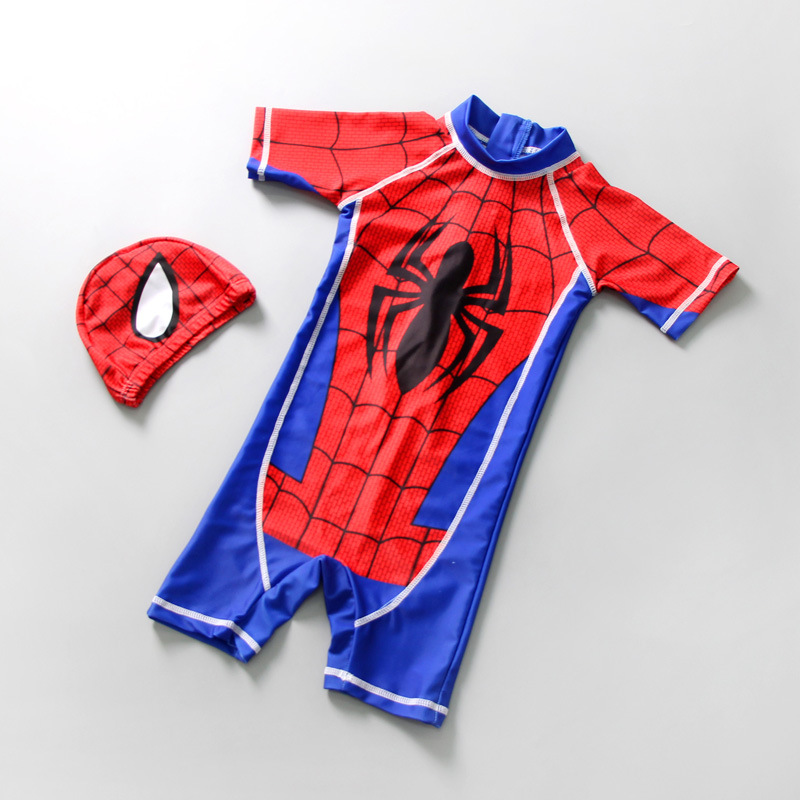 Kid Boys Print Spider Swimsuit With Swim Cap