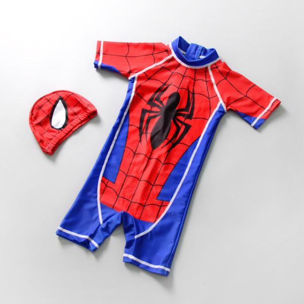 Kid Boys Print Spider Swimsuit With Swim Cap