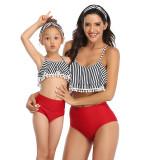Mommy and Me Pompom Ruffles Bikini Sets Matching Swimwear