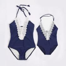 Mommy and Me Lace Strap Swimsuit Matching Swimwears