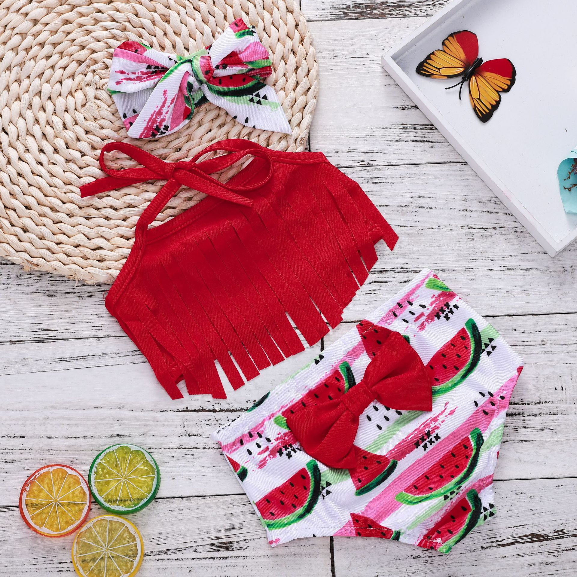 Baby Toddle Girls Tassels Bikini Prints Watermelons Shorts Swimwear Sets 0-2 Years