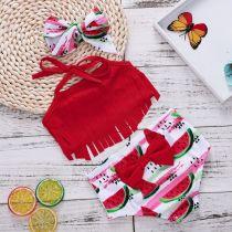Baby Toddle Girls Tassels Bikini Prints Watermelons Shorts Swimwear Sets 0-2 Years