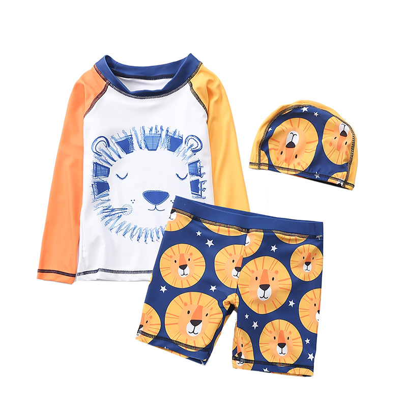 Kid Boys Print Yellow Lions Swimsuit Tow Pieces With Swim Cap