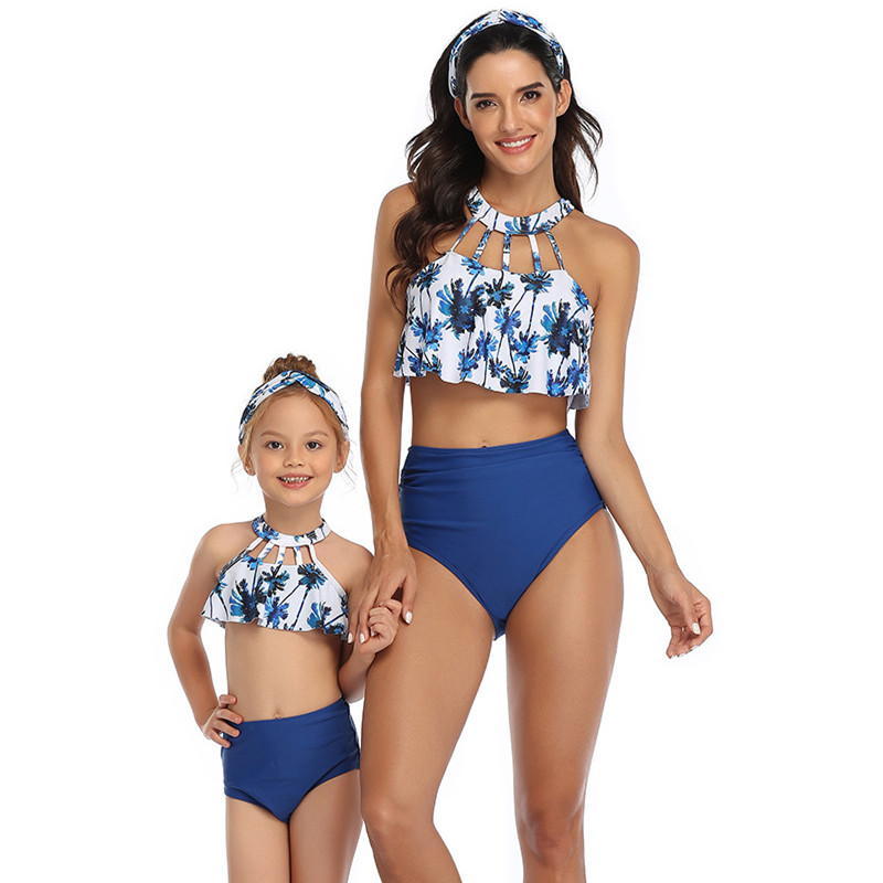 Mommy and Me Hollow Out Collar Ruffles Bikini Sets Matching Swimwear
