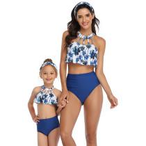 Mommy and Me Hollow Out Collar Ruffles Bikini Sets Matching Swimwear