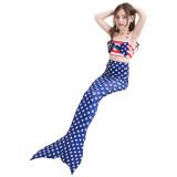 3PCS Kid Girls American National Flag Stars Mermaid Tail Bikini Sets Swimwear