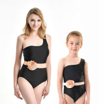 Mommy and Me One Shoulder Belt Flower Black Matching Swimwears
