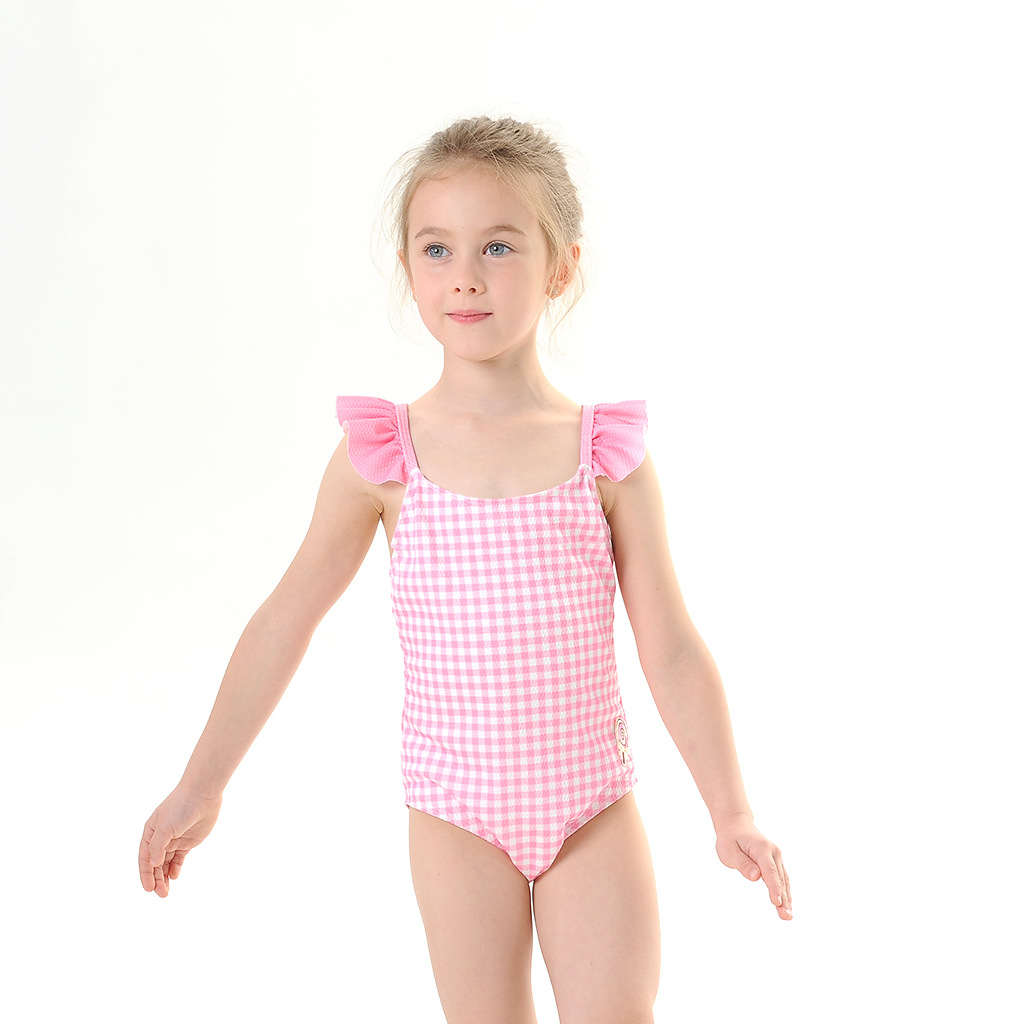 Toddle Kids Girls Ruffles Plaids Backless Swimsuit Swimwear