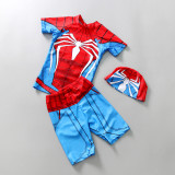 Kid Boys Print Spider Man Swimsuit Tow Pieces With Swim Cap