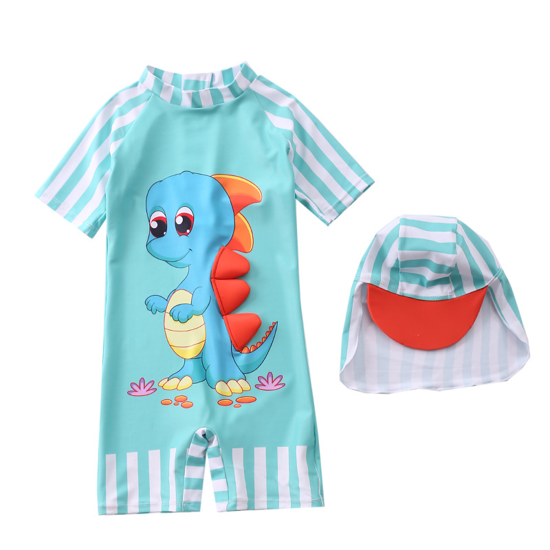 Toddler Kid Boys Print 3D Dinosaur Swimwear With Cap