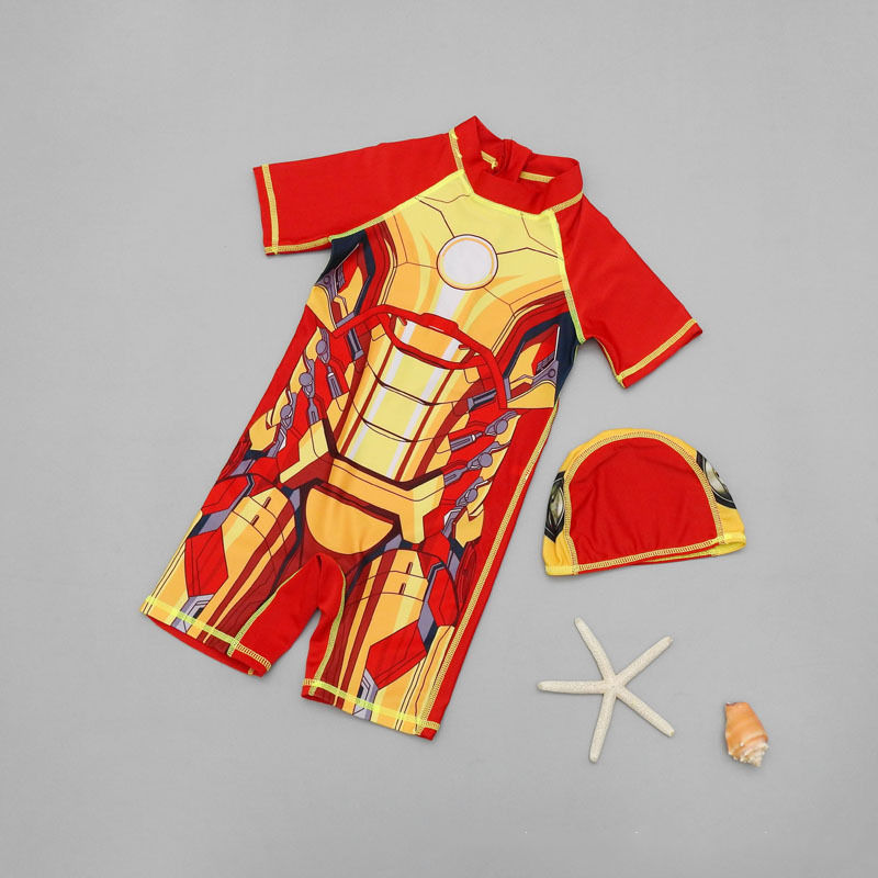 Kid Boys Print Iron Man Swimsuit With Swim Cap