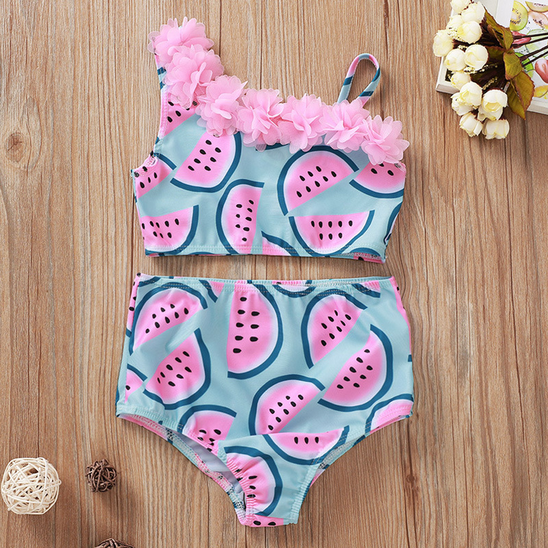 Toddle Kids Girls Flowers Off The Shoulder Prints Watermelons Bikini Swimwear Sets