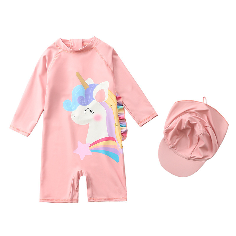 Toddle Kids Girls Print Rainbow 3D Unicorn Stars Swimsuit Swimwear With Cap