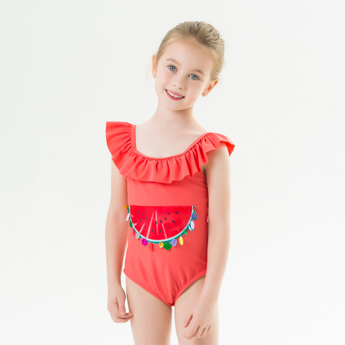 Toddle Kids Girls Print Watermelon Sequins Ruffles Swimsuit Swimwear