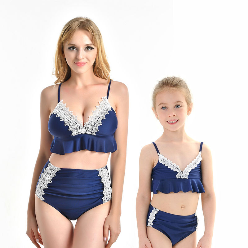 Mommy and Me Lace High Waisted Slip Bikini Sets Matching Swimwears