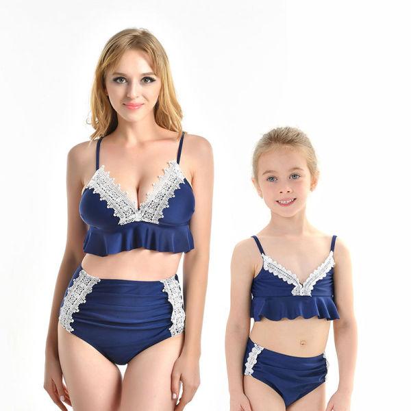 Mommy and Me Lace High Waisted Slip Bikini Sets Matching Swimwears