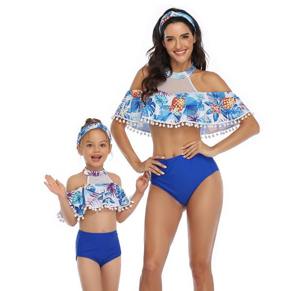 Mommy and Me Sports Print Tropical Leaves Pompom Ruffles Bikini Sets Matching Swimwear