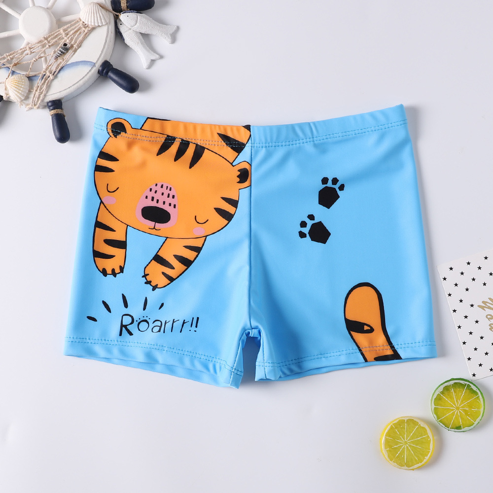 Kid Boys Print Tiger Swimwear Trunks Swim Boxer Shorts