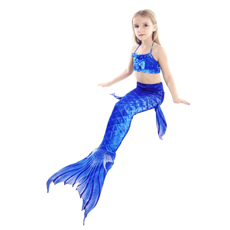 3PCS Kid Girls Matching Color Scale Mermaid Tail Bikini Sets Swimwear