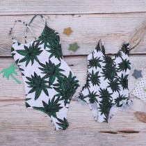 Mommy and Me Ruffles Tropical Leaves Lace Up Backless Swimsuit Matching Swimwears