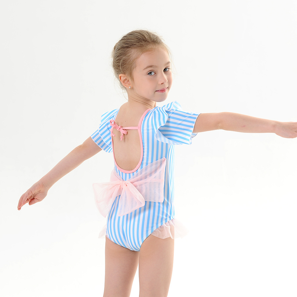 Toddle Kids Girls Blue Stripes Tutu Ruffles Bowknot Swimsuit Swimwear