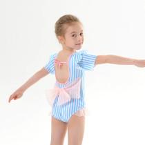 Toddle Kids Girls Blue Stripes Tutu Ruffles Bowknot Swimsuit Swimwear