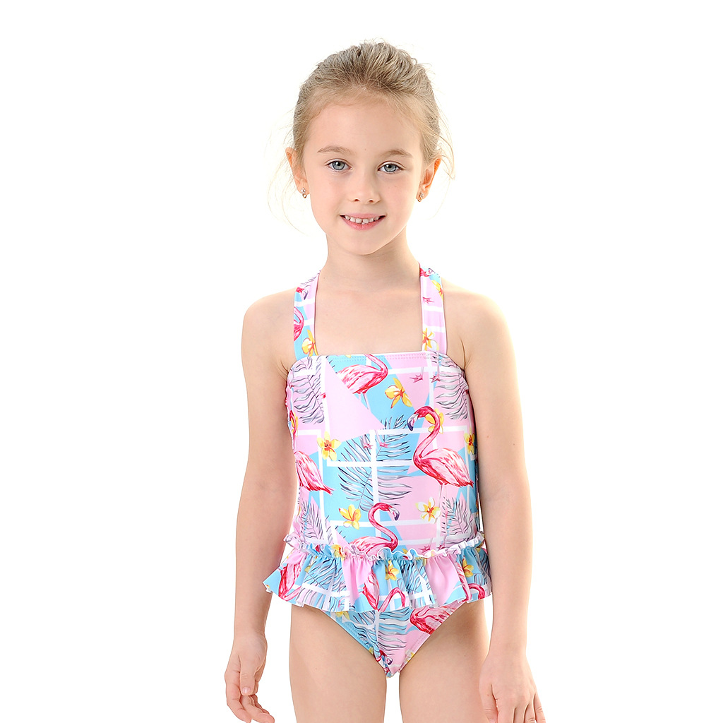 Toddle Kids Girls Print Flamingos Ruffles Swimsuit Swimwear With Cap