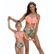 Mommy and Me Mesh Ruffles Bikini Sets Matching Swimwear
