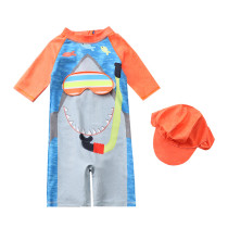 Toddler Kid Boys Print Underwater Diving Shark Swimwear With Cap
