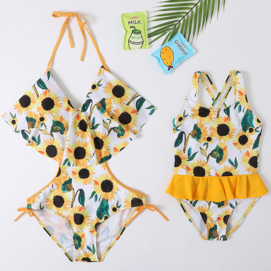 Mommy and Me Prints Yellow Sun Flowers Cup Out Matching Swimwear