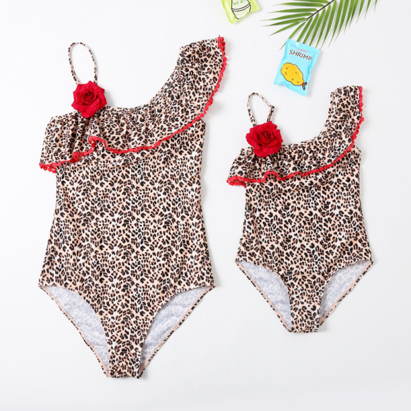 Mommy and Me One Shoulder Leopard Print Red Flower Matching Swimwears