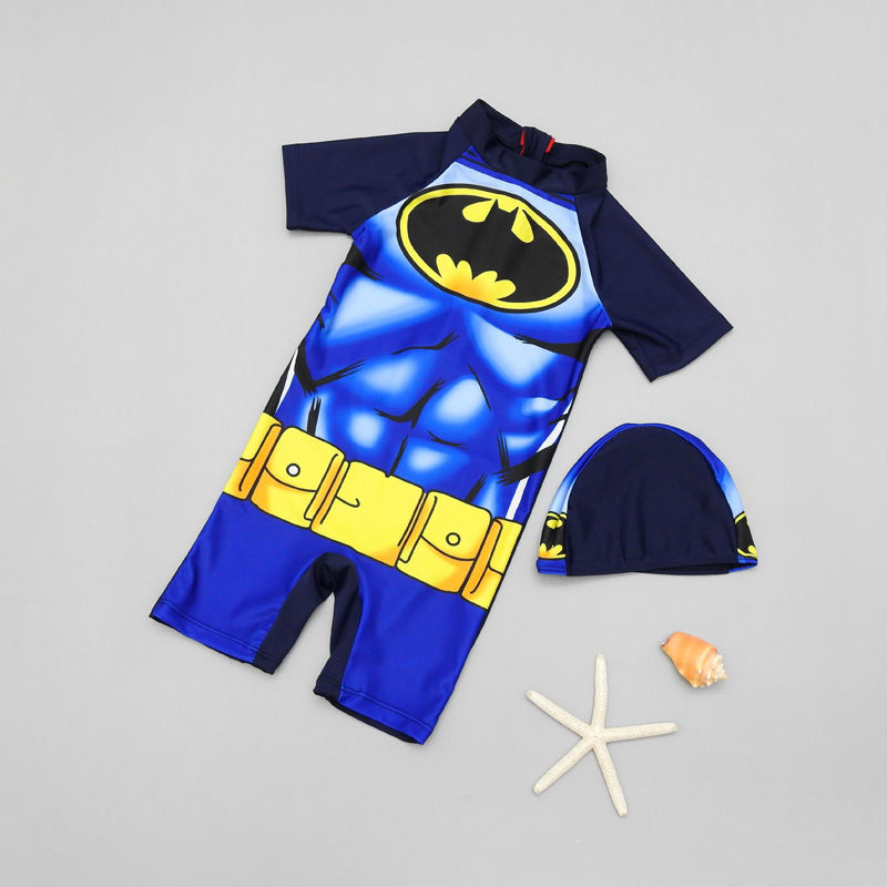 Kid Boys Print Bat Man Swimsuit With Swim Cap