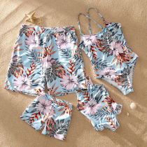 Family Matching Swimwear Prints Pink Flowers Leaves Lace Up Backless Swimsuit and Truck Shorts