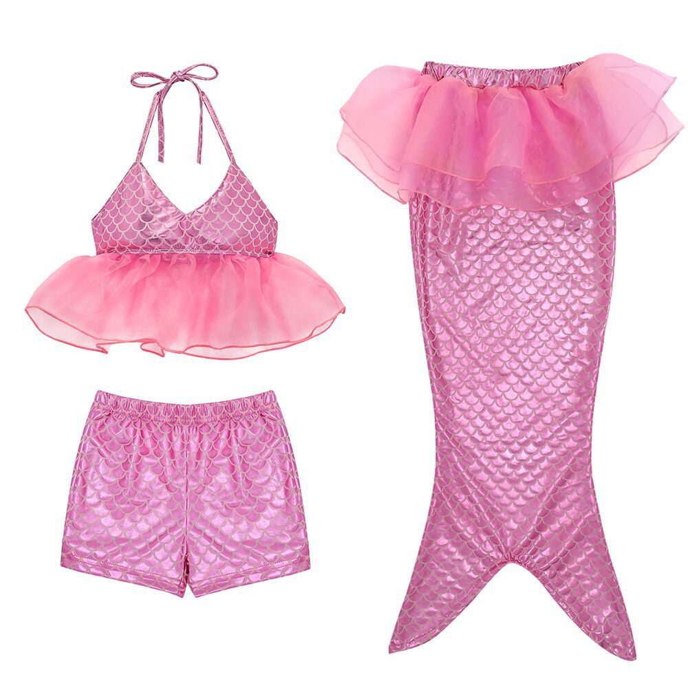 3PCS Kid Girls Scale Ruffles Tutu Sequin Mermaid Tail Bikini Swimsuit
