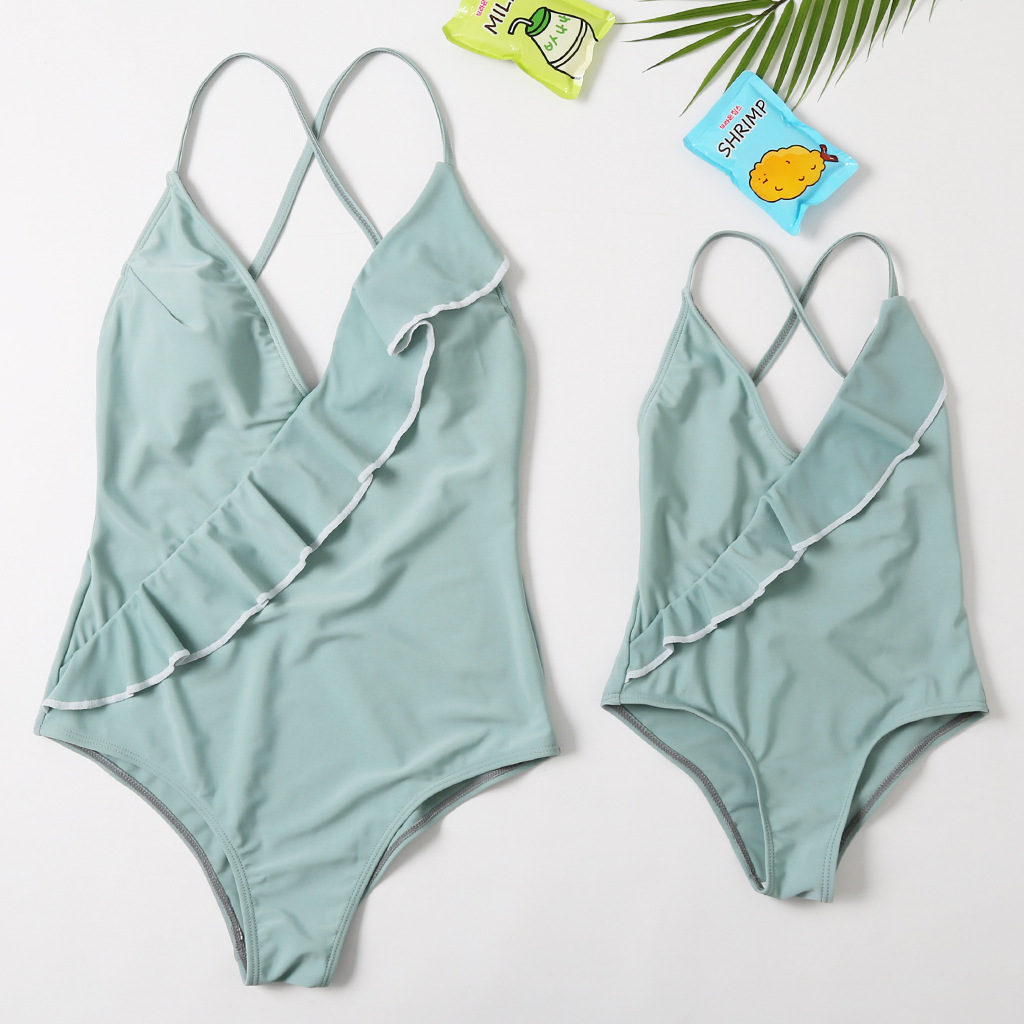 Mommy and Me Ruffles Cross Swimsuit Matching Swimwears