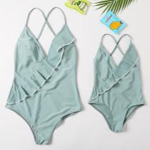 Mommy and Me Ruffles Cross Swimsuit Matching Swimwears