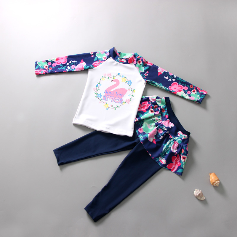 Toddle Kids Girls Print Flowers Swan Two-pieces Swimwear
