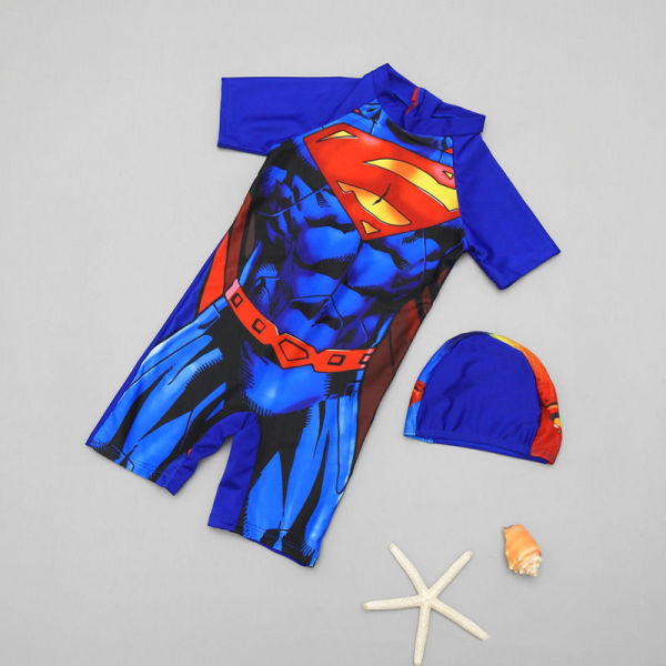 Kid Boys Print Super Man Swimsuit With Swim Cap