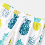 Family Matching Swimwear Prints Pineapples Swimsuit and Truck Shorts