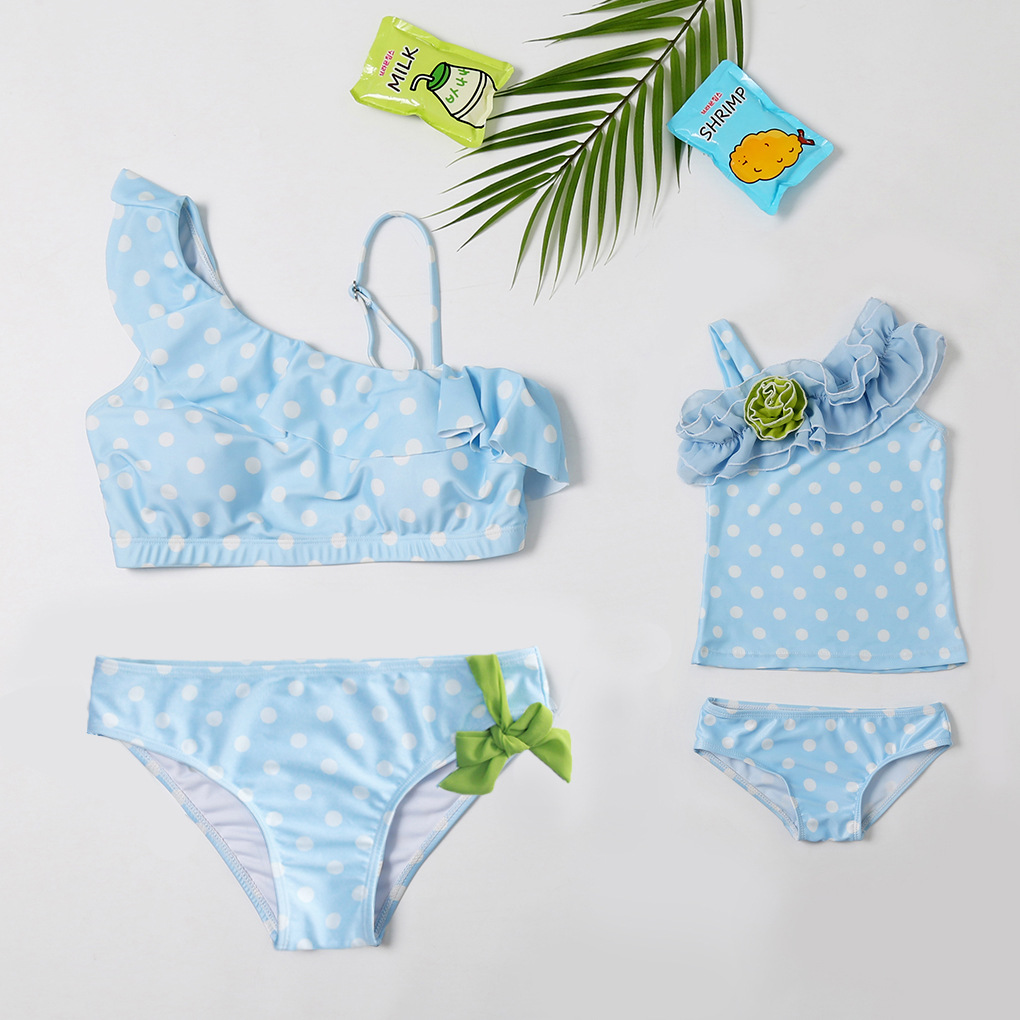 Mommy and Me One Shoulder Ruffles Dots Bikini Sets Matching Swimwears