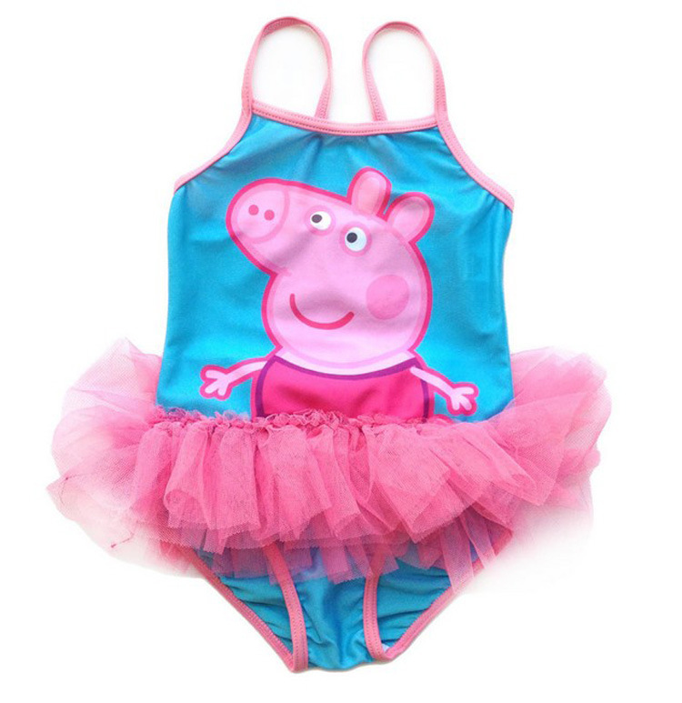 Toddle Kids Girls Print Peppa Pig Pink Tutu Swimsuit Swimwear