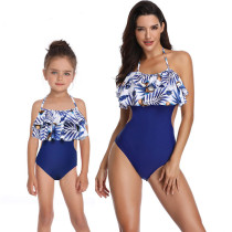 Mom and Me Matching Swimwear Prints Tropical Leaves Ruffles Swimsuit