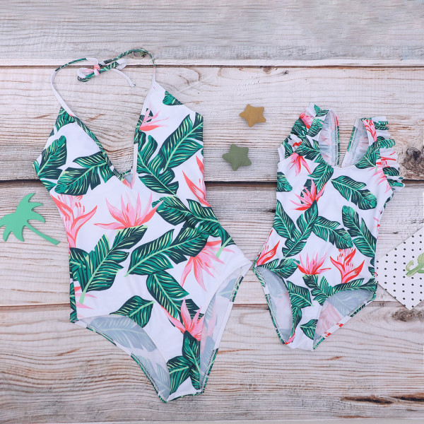 Mommy and Me Ruffles Tropical Leaves Swimsuit Matching Swimwears