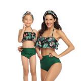 Mommy and Me Ruffles Leopard Prints Tropical Leaves Bikini Sets Matching Swimwear