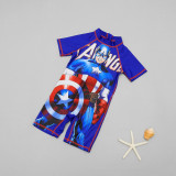 Kid Boys Print Captain America Swimsuit With Swim Cap