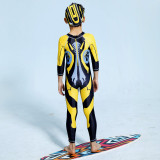 Kid Boys Underwater Diving Print Transformers Swimwear Sets Long Sleeves Top and Pant With Swim Cap